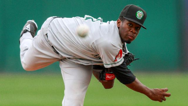 Kane County Cougars RHP Touki Toussaint was traded to the Atlanta Braves on Saturday. (MiLB.com photo)