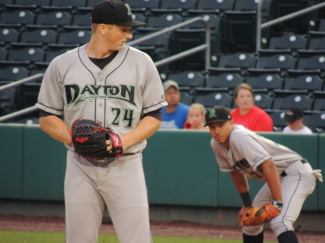 Dayton Dragons starting pitcher Wyatt Strahan (left) and first baseman Avain Rachal