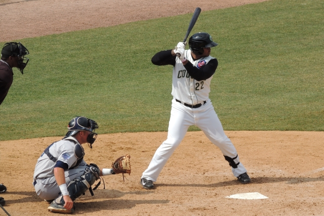 Yasiel Balaguert bats for the Kane County Cougars during the 2014 season. (Photo by Craig Wieczorkiewicz/The Midwest League Traveler)