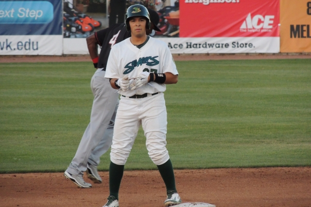 Argenis Raga stands on second base after hitting a double in the bottom of the 4th inning.