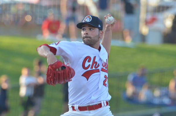 LHP Jaime Garcia pitched five hitless innings for the Peoria Chiefs in a 2015 rehab start. (Photo courtesy of the Peoria Chiefs)