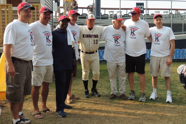 Some Kenosha Twins alumni get together for photos during their reunion at Simmons Field. (Photo by Craig Wieczorkiewicz/The Midwest League Traveler)