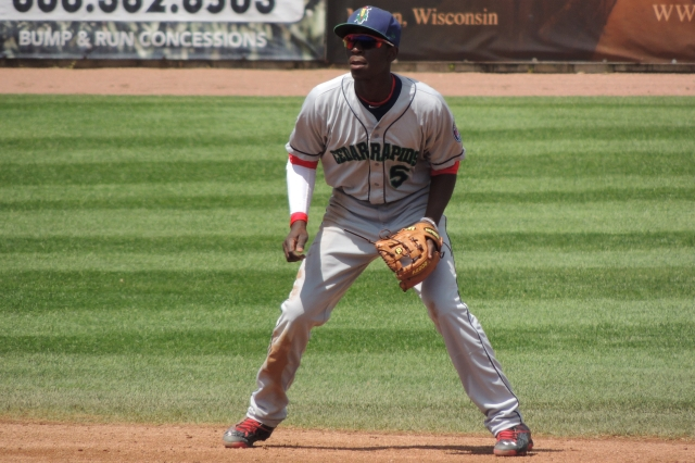 Nick Gordon led the Cedar Rapids Kernels with three hits and a game-ending defensive play Sunday. (Photo by Craig Wieczorkiewicz/The Midwest League Traveler)
