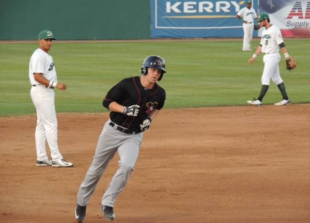 Ryan Bottger rounds third base after homering to lead off the top of the 5th inning.