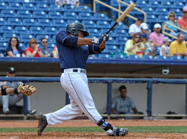 Bobby Bradley connects for a triple during a Lake County Captains game earlier this season. (Photo by Tim Phillis/TCP Photography)