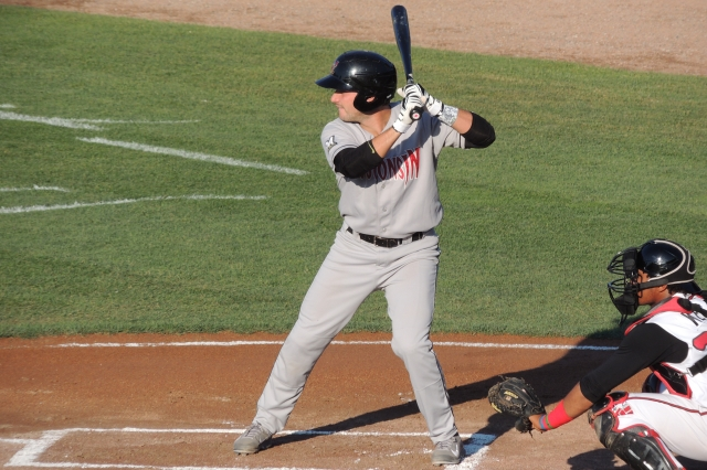 Carlos Leal bats for the Wisconsin Timber Rattlers during Wednesday's game.