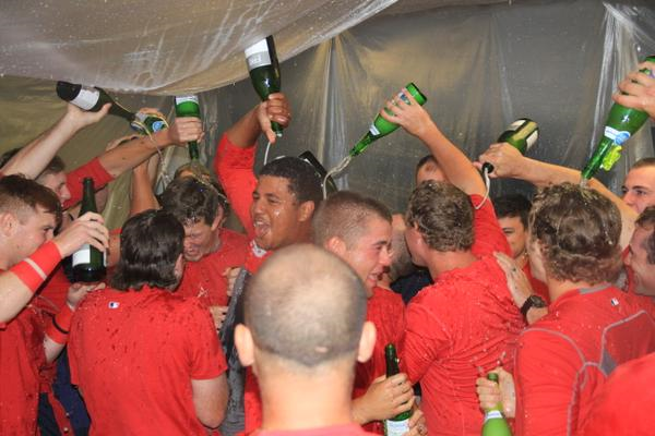 The Peoria Chiefs celebrate clinching a playoff berth Thursday. (Sean Flynn Photography)