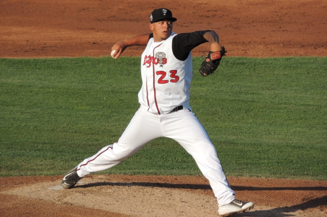 Clinton Hollon delivers a pitch for the Lansing Lugnuts during his Midwest League debut last August. (Photo by Craig Wieczorkiewicz/The Midwest League Traveler)