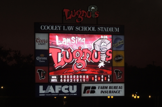 The Cooley Law School Stadium scoreboard after the game. (Photo by Craig Wieczorkiewicz/The Midwest League Traveler)