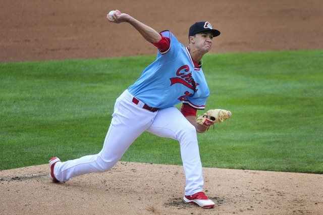 Jack Flaherty delivers a pitch during a Peoria Chiefs game in late May. (Photo by Sarah Gardner/Peoria Journal Star)