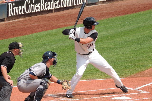 J.D. Davis bats for the Quad Cities River Bandits last year. (Photo by Craig Wieczorkiewicz/The Midwest League Traveler)