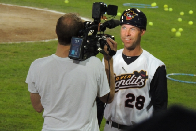 Quad Cities manager Josh Bonifay is interviewed after a River Bandits win this year. (Photo by Craig Wieczorkiewicz/The Midwest League Traveler)