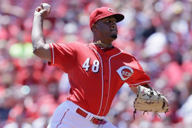 Former TinCaps pitcher Keyvius Sampson made his first MLB start Sunday for the Reds. (AP photo by John Minchillo)