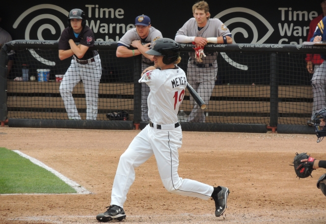 Wisconsin Timber Rattlers LF Mitch Meyer swings at a pitch during Tuesday's game.