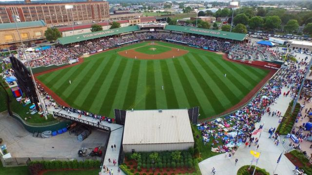 An aerial view of Four Winds Field, home of the South Bend Cubs. (Photo courtesy of the South Bend Cubs)
