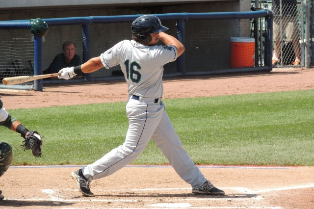 T.J. White drove in five of the 23 runs scored by the Cedar Rapids Kernels on Monday. (Photo by Craig Wieczorkiewicz/The Midwest League Traveler)