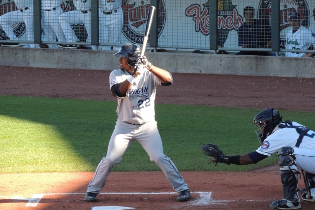 Whitecaps LF Christin Stewart bats in the top of the 2nd inning. He doubled in this at-bat.