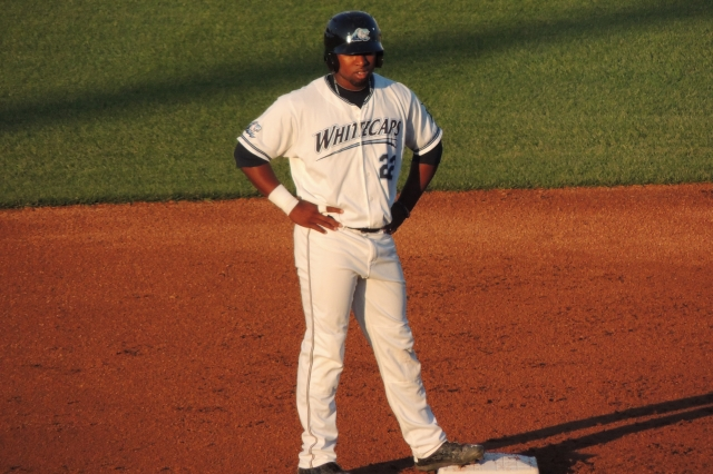 West Michigan Whitecaps LF Christin Stewart stands on second base.