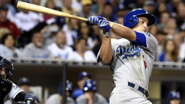 Former Loons SS Corey Seager drove in two runs with this swing in his MLB debut Thursday. (Photo by Denis Poroy/Getty Images)