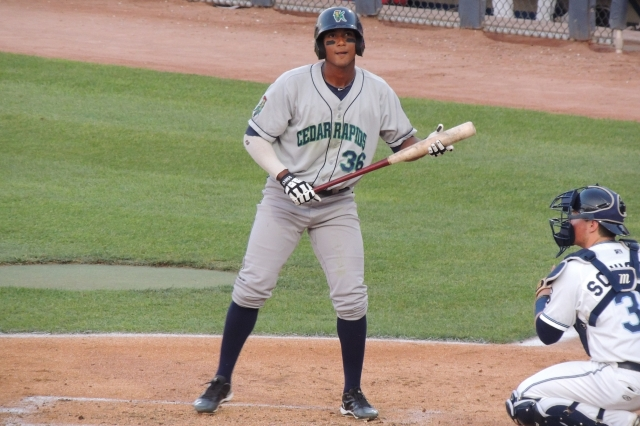 Cedar Rapids Kernels RF Edgar Corcino takes a pitch during Wednesday's game.
