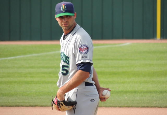 Randy LeBlanc on the mound for the Kernels in Beloit earlier this year. (Photo by Craig Wieczorkiewicz/The Midwest League Traveler)