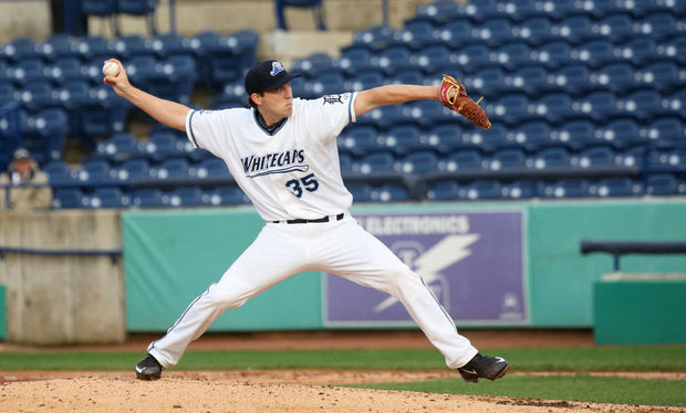 Ross Seaton pitching for the Whitecaps in May. (Photo by Kevin Sielaff/MLive.com)
