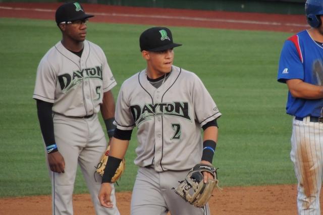 Dayton Dragons 2B Shed Long (No. 5) and SS Luis Gonzalez (No. 2)