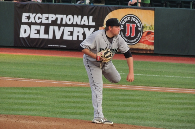 Despite what the sign behind him says, Dayton Dragons LHP Ty Boyles did not pitch well Thursday.