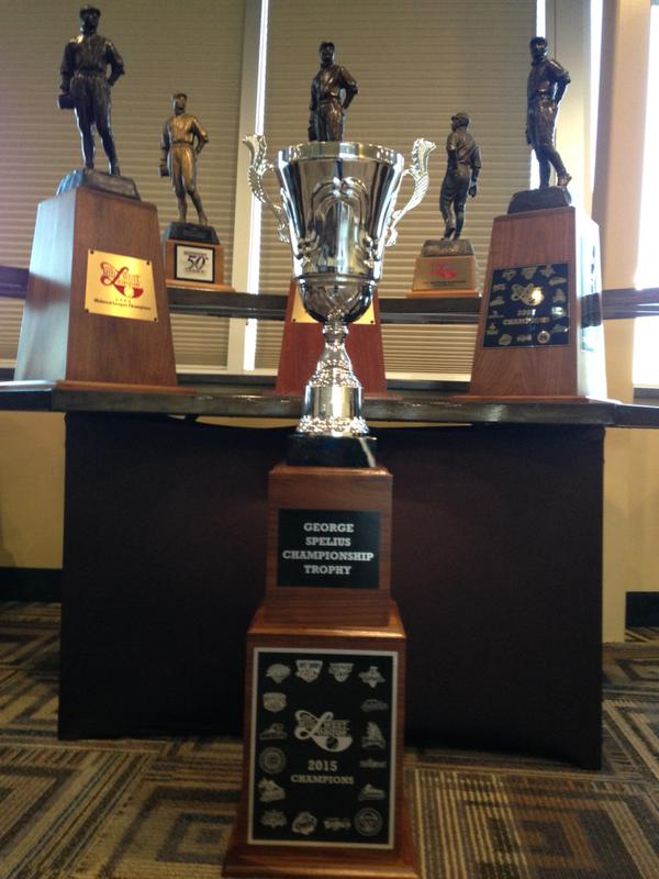 The six Midwest League championship trophies won by the West Michigan Whitecaps. (Photo tweeted by the Whitecaps)
