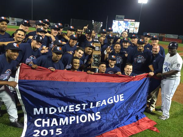 The West Michigan Whitecaps pose for a photo with the Midwest League championship pennant. (Photo tweets by the Whitecaps)