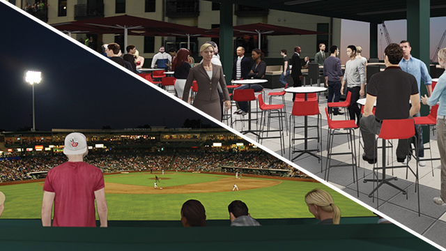 Renderings showing what the new seating area and the field view from it will look like, courtesy of the Fort Wayne TinCaps.