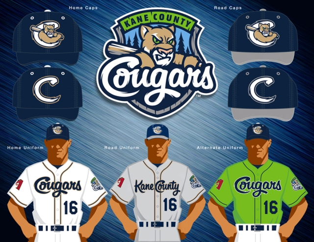 The new primary logo, ballcaps and uniforms unveiled by the Kane County Cougars.