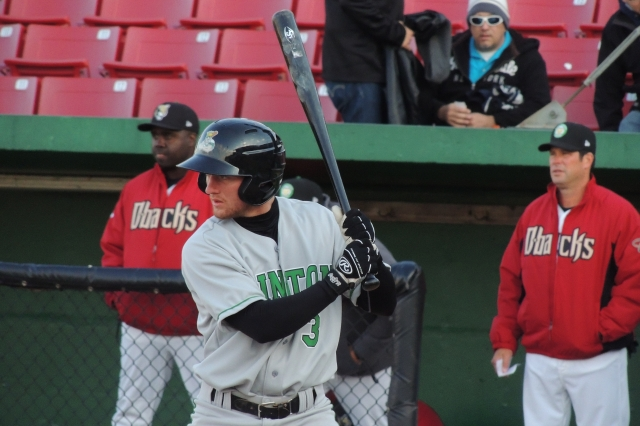 Nelson Ward bats for the Clinton LumberKings during an April 2015 game at Kane County. (Photo by Craig Wieczorkiewicz/The Midwest League Traveler)