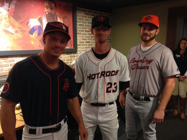 The Bowling Green Hot Rods showed off their new logos and uniforms at an unveiling event Thursday night. (Photo courtesy of the Hot Rods)