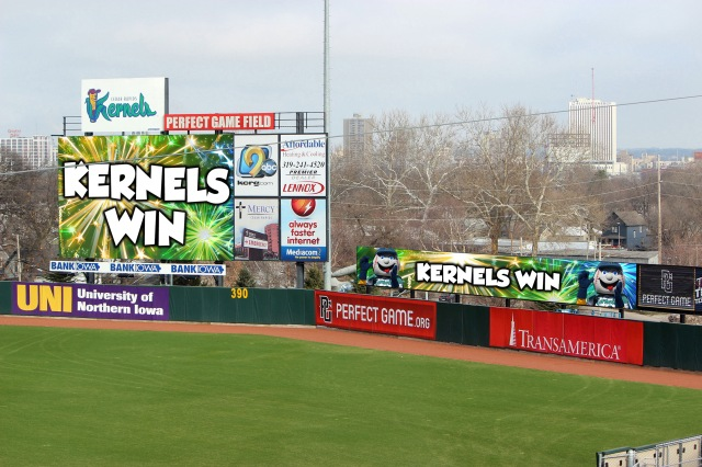 The new LED video ribbon board will be located to the right of the main scoreboard, as seen in this rendering provided by the Cedar Rapids Kernels.
