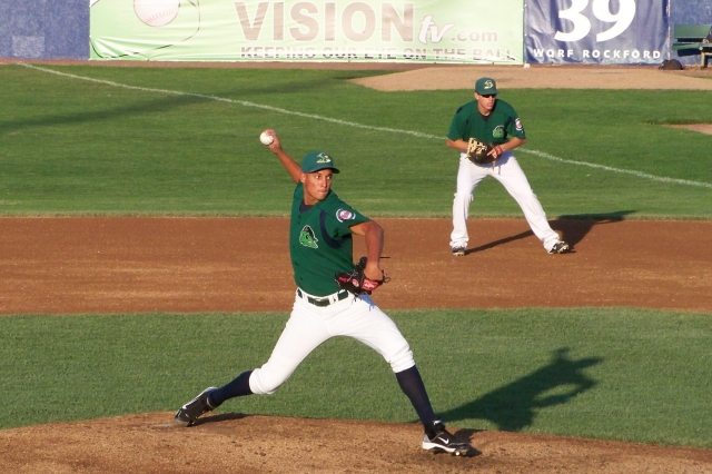 Adrian Salcedo pitched for the Beloit Snappers in 2011. (Photo by Craig Wieczorkiewicz/The Midwest League Traveler)