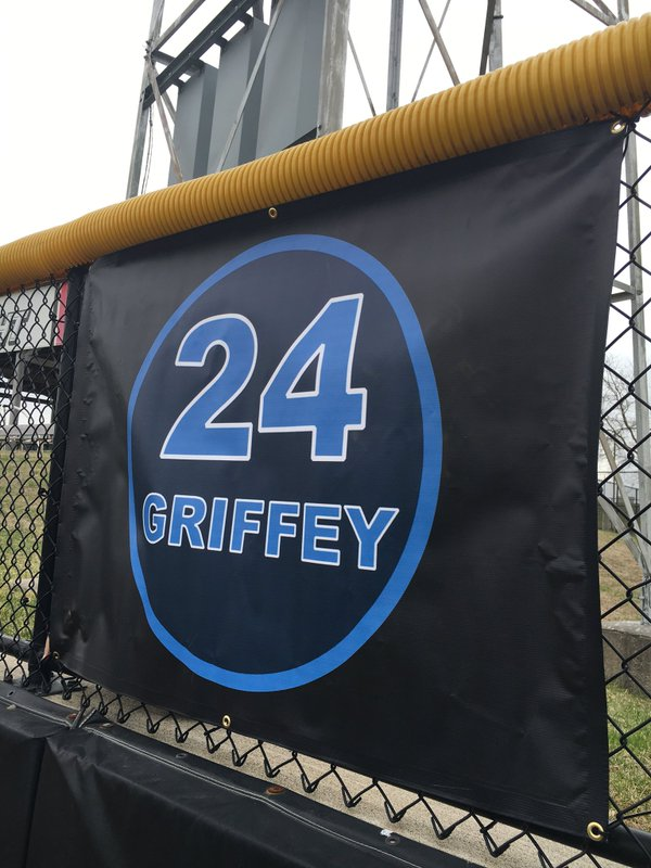 The new Griffey sign at Ashford University Field. (Photo tweeted by the Clinton LumberKings)