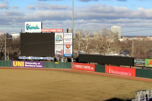 The new LED video ribbon board is located to the right of the main scoreboard. (Photo from Cedar Rapids Kernels social media)