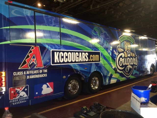 The new Kane County Cougars team bus, operated by Peoria Charter Coach Company. (Photo courtesy of the Kane County Cougars)