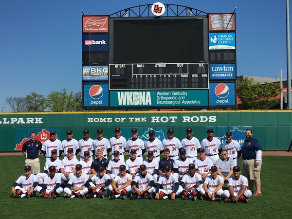 The Bowling Green Hot Rods pose for a team photo on Tuesday, two days before the start of the Midwest League season. (Photo courtesy of the Hot Rods)