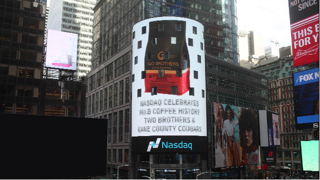The official launch of 7th Inning Blend coffee included the product's mention on the electronic display on the NASDAQ building in Times Square. (Photo provided by the Kane County Cougars)