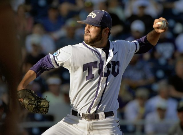 LHP Alex Young, seen here pitching in the 2015 NCAA College World Series, is assigned to the Kane County Cougars for the start of the 2016 season. (AP photo by Ted Kirk)