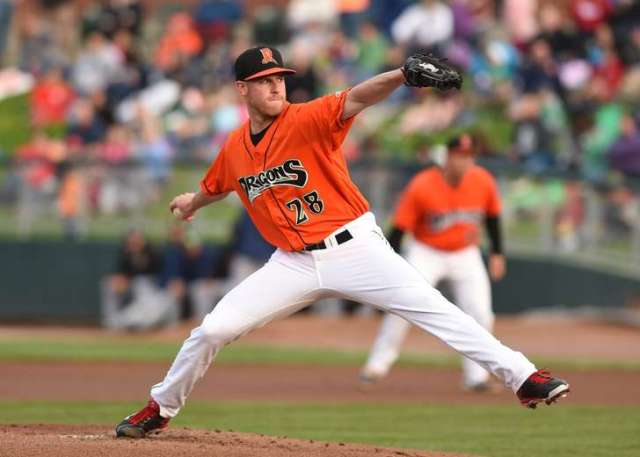 Cincinnati Reds RHP Anthony DeSclafani made a rehab start for the Dayton Dragons on Friday. (Nicholas Photography)