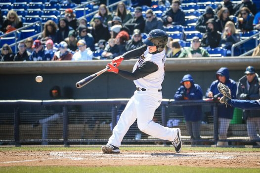 Quad Cities River Bandits 2B Brooks Marlow connects for a hit earlier this month. (Photo by Rich Guill)