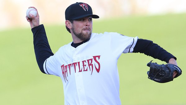 Wisconsin Timber Rattlers SP Jon Perrin struck out 14 batters Tuesday. (Photo by Nick Guenther)