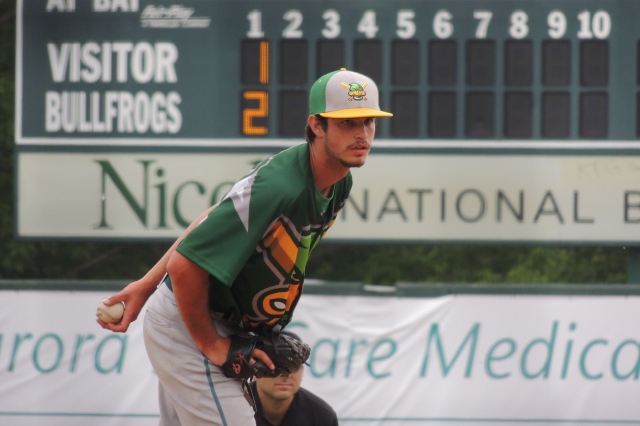 Matt Bower, seen here pitching for the Madison Mallards in 2015, earned the win for the Quad Cities River Bandits in Game 2 of Thursday's doubleheader. (Photo by Craig Wieczorkiewicz/The Midwest League Traveler)
