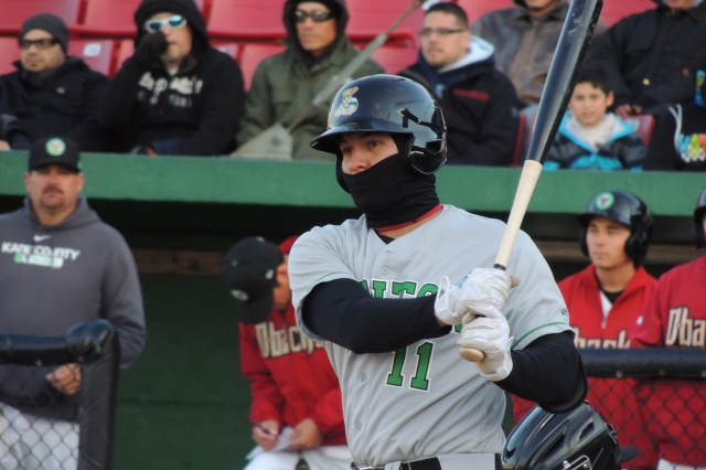 Alex Jackson wore a face-wrap for a cold game in Kane County early last season. (Photo by Craig Wieczorkiewicz/The Midwest League Traveler)