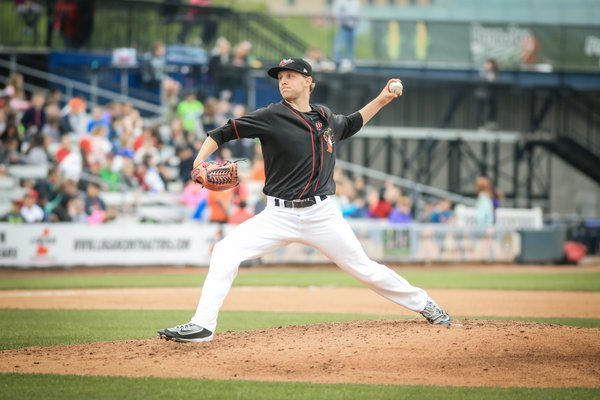 Quad Cities River Bandits SP Alex Winkelman allowed only one hit and one walk in six innings Sunday. (Photo by Rich Guill)
