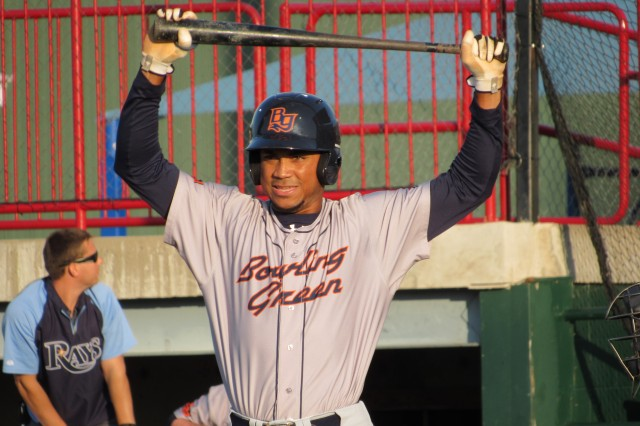 Bowling Green Hot Rods CF Angel Moreno tripled home a run in the 2nd inning.