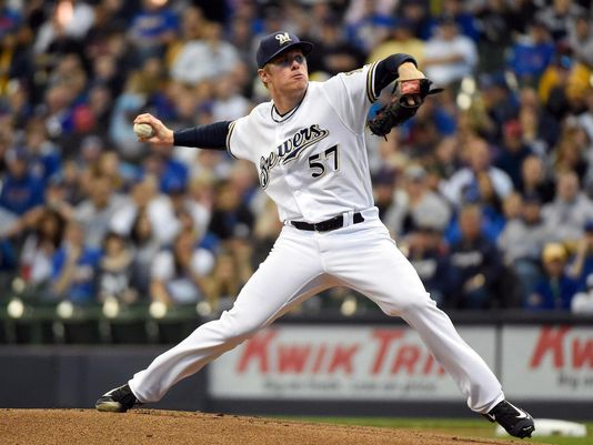 Former South Bend Silver Hawks pitcher Chase Anderson took a no-hitter into the 8th inning for the Milwaukee Brewers on Tuesday. (Photo by Benny Sieu/USA TODAY Sports)